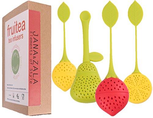 Fruitea infusores de té – 4 Silicona Infusor Colador de Hojas, Tea Infusers, Filtros de Té en Forma de Frutos - Fresa, Pera, Limón y Naranja