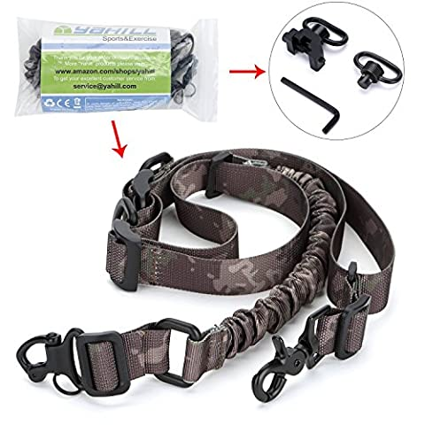 yahill® Neue Einzigartiges Design Multi 2-Punkt 2 in1 Gewehr Gun Sling Camo Verstellbarer Gurt für Outdoor Sport Jagd, oder mit 2 extra 1–1/10,2 cm Quick Detach Push Button Sling Swivel (nur One Hat Picatinny Mount) (Multi Strap Sling)