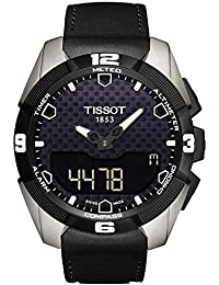 Tissot T-Touch II Experto solar Negro analógico digital Dial Negro Cuero Mens Reloj T0914204605100