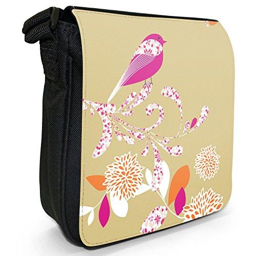 Elegante, motivo: uccellino e fiori Piccola borsa a tracolla in tela, colore: nero, taglia: S Nero (Tenné)