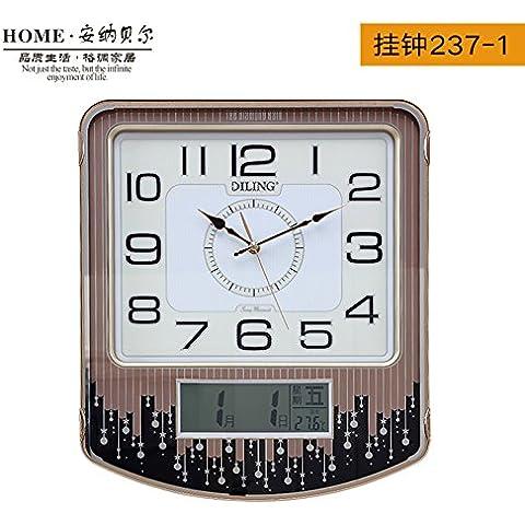 Moderno minimalista Orologi da parete grafici per parete il calendario Creative Chao Zhong Mute sala decorata stanza vivente di orologi al quarzo,14 pollici,Andy Ling Orologio da parete 237-1 (quadrante bianco)
