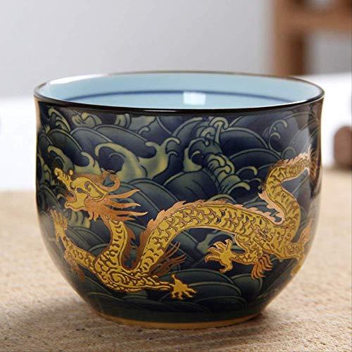 Q&C 100 Ml Kreative Chinesische TraditionelleRoyal Dragon Doppelwandige Teetasse KeramikKung FuTeetassenPuer Tee Schüssel
