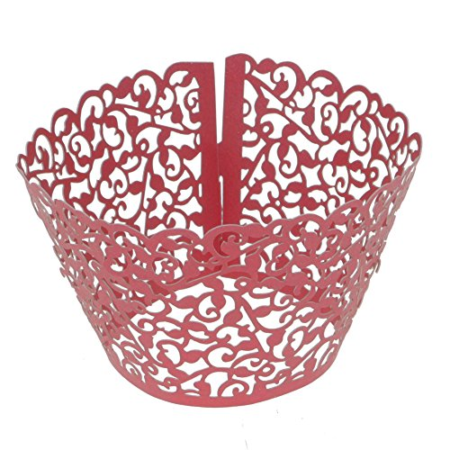 arty Dekor Aushöhlen Blumen Kuchen Papier Tasse Halterung Cupcake Halter Rot (Gold Cupcake-halter)