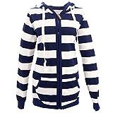 Search : Blivener Women Fashion Cotton Coat White Navy Striped Hoodies Sweatshirt