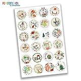 Papierdrachen 24 Adventskalender Zahlen Sticker - Bilder verspielt Nr 22 - Aufkleber 4 cm - zum Basteln und Dekorieren