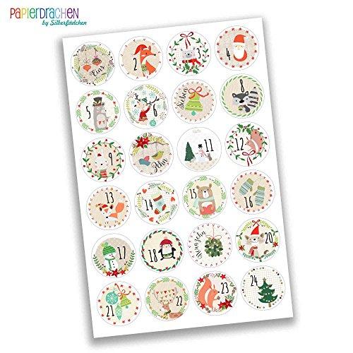 Numeri Per Calendario Avvento.Papierdrachen 24 Adesivi Colorati Con Numeri Per Il
