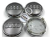 4 Tappi Coprimozzo Audi 69mm con Portachiavi Omaggio A3 A4 A5 A6 TT RS4 Q5 Q7 S4 A8 Cerchi Lega Ruota