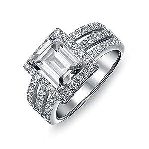 Bling Jewelry Art Déco-Stil 3Ct Rechteck AAA CZ Emerald Cut Halo Verlobungsring Für Damen DREI Split Band 925 Sterling Silber