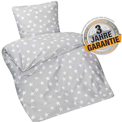 Aminata Kids Sterne Bettwäsche 135 x 200 cm + 80 x 80 cm aus Baumwolle mit Reißverschluss, unsere Kinderbettwäsche mit Stern-Motiv ist weich und kuschelig