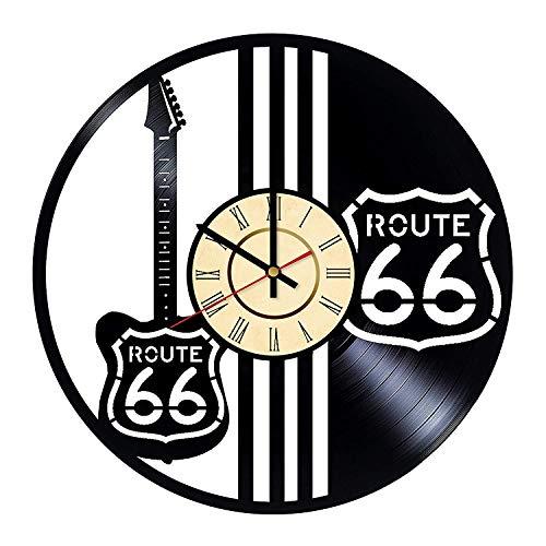 YLDJINGZ Route 66 Vinyl Wanduhr Kunst Barriere Dekoration antikes Geschenk
