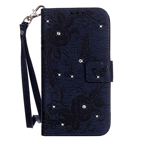 Coque iPhone 6/6S Pochette Étui à Rabat, Moon mood® Brillant Glitter Bling Housse de Protection pour Apple iPhone 6S Folio Case Cover Portefeuille Porte-Carte Magnétique Fente Faux Cuir Antichoc Coque Pourpré
