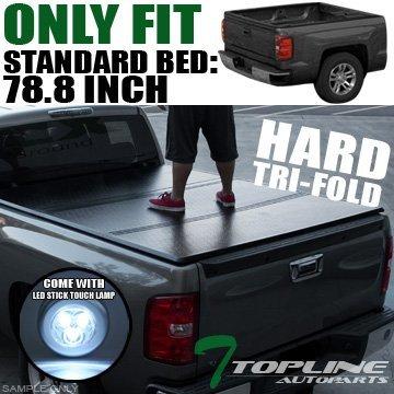 Topline Autopart Tri-Fold Hard Truck Bed Topper Cap Tonneau Cover JR 14/15-16 Chevy GMC Silverado Sierra 1500 2500 3500 HD Denali Fleetside 6.5 Ft 78 Bed by Topline_autopart - Sierra 2500 Hd