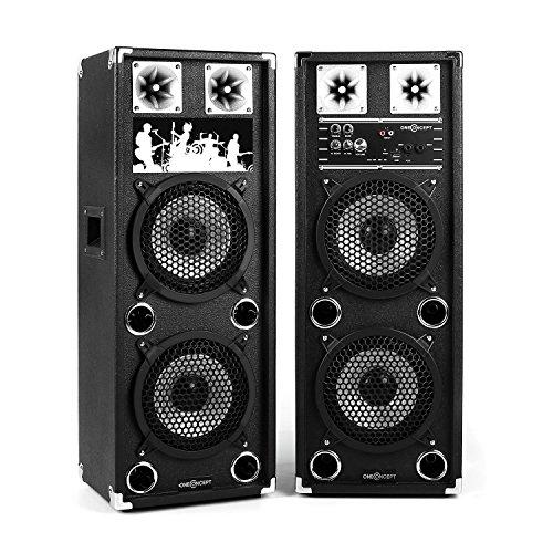 oneConcept BSX-28A • aktives Lautsprechersystem • PA Lautsprecher Paar • 2-Wege Lautsprecher-System • 120 Watt Peak-Leistung • MP3-fähiger USB-Port / SD-Slot • je 2 x 8'' (20 cm)-Subwoofer • Power LED • Echo-Effekt • Bassreflexgehäuse • Tragegriff • schwarz (Paar 8-zoll-subwoofer)