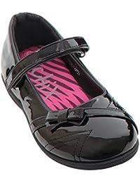 Sapphire TIENDA MUJER LIGERO Deslizante Oficina Trabajo Tacón Bajo Charol Cuero Imitación Zapato plano - Negro, 7 UK
