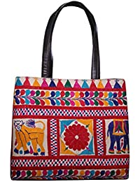 HandicraftWorld Woman's Indian Fashionable Banjara Multicolor Floral & Kantha Work Printed Cotton Handmade Tote...