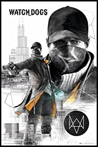 Watch dogs poster (62 x 93 cm) montées: cadre (noir)