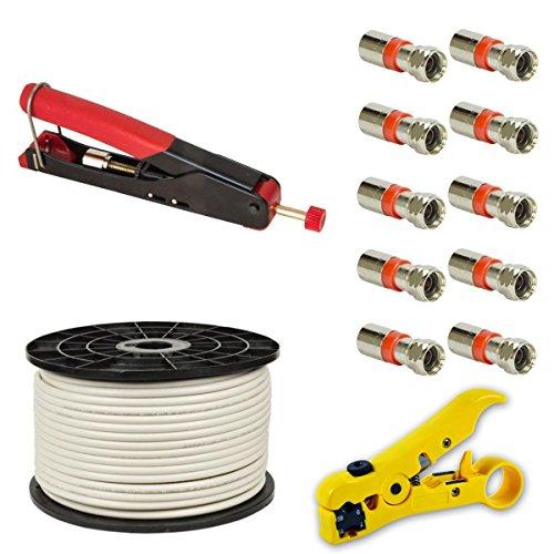 Kompressionszange Crimpzange Zange + Abisolierwerkzeug Abisolierer + 10x XCon S2 F Kompressionstecker für 7 - 7,5mm Sat Kabel + 100m PremiumX Basic Koaxialkabel Antennenkabel koax koaxial