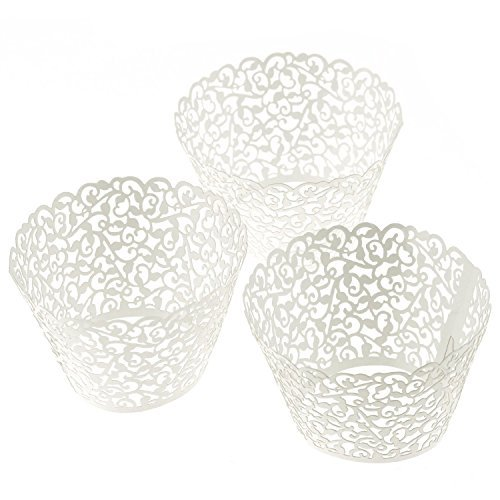 TStoy 100pcs Filigree Little Vine Lace Laser Cut Cupcake Wrapper Liner Baking Cup Muffin Case Trays Wedding Birthday Party Decoration (White) by TStoy Laser-cut-tray