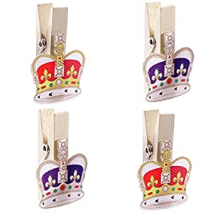 4 Funky Royal Majestic Crown Design Decorative Pegs Craft Card Gift Novelty by Concept4u