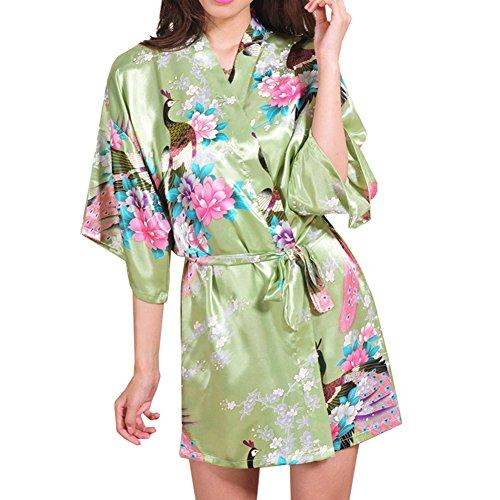 iBaste Damen Kimono Morgenmantel Elegant glatte Satin Nachtwäsche mit Peacock und Blume Unifarben Übergangszeit kurz S-XXL Grün