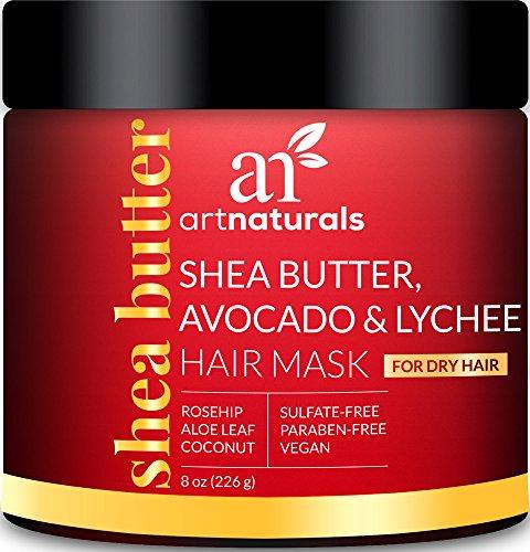 ArtNaturals Shea-Butter Avocado und Litschi Haarkur - (8 Oz / 226g) - Feuchtigkeitsspendende Haarmaske für Trockenes und Beanspruchtes Haar - mit Kokosöl, Aloe Vera und Hagebuttenextrakt Shea Butter Hair Mask