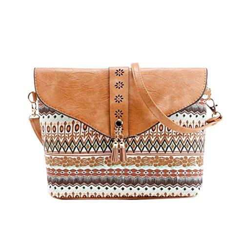 Fiore di stampa borse, donne fiore stampa borse borsa dolce modello di cuoio artificiale spalla Messenger Bag by Kangrunmy Marrone