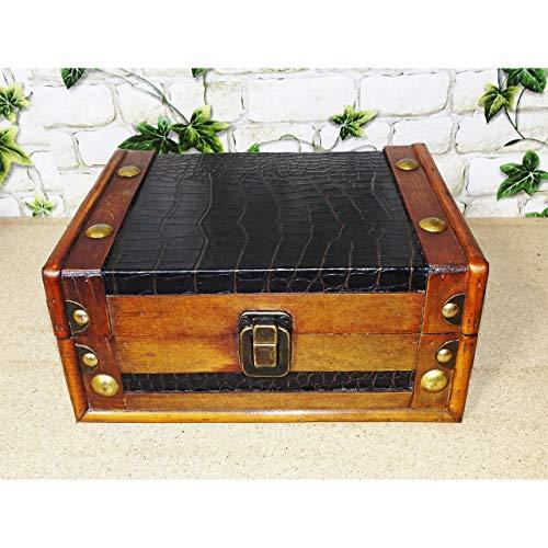 Gr Aufbewahrungskiste Box Aufbewahrung Deko Truhe Holz Kunstleder Antik 22cm breit -