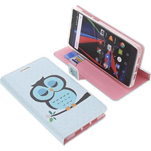 foto-kontor Tasche für Archos 55 Diamond Selfie Book Style Eulen blau Schutz Hülle Buch