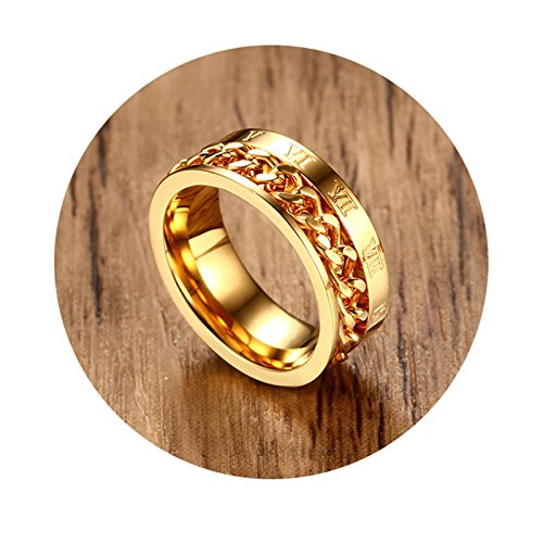 Adisaer Herren Ring Edelstahl Verlobungsringe Gold Kette Form Römische Ziffern Ringgröße 60 (19.1) Hochzeit