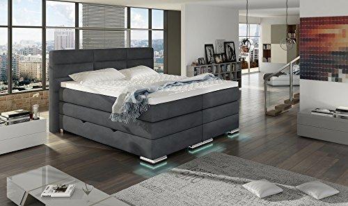 XXL ROMA Boxspringbett mit Bettkasten Designer Boxspring Bett LED DESIGN Grau Stoff Rechteck Design Größe 200_x_200_cm