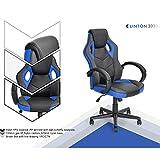 Furniture Best Deals - n.b.f fateuil de escritorio Gaming deporte asiento Racing para ordenador PU piel sintética azul negro
