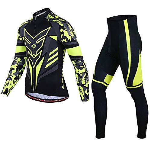 Pessica Herren-Trikotanzug, Fahrradbekleidung, UV-Beständig, Belüftet Und Atmungsaktiv, Entsprechend Der Kinematik,Yellow,S