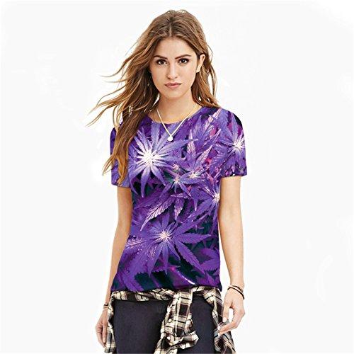 Jiayiqi Unisex Funky Digitaldruck T-Shirt 3D Grafik Kurzarm T-Shirts Lila Blatt