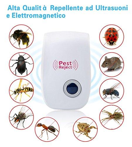 Repellente Ultrasuoni per Zanzare,Mosche,Topi,Insetti Ratti, Scarafaggi,Pulci,Formiche, Roditori,Ants e Ragni Repellente ad Ultrasuoni...
