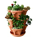 Malhotra Plastic Plastic Stack-A-Pot Hanging Set (Terracotta, 5-Pieces)