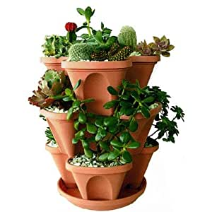 Gardens Need Plastic Stack-A-Pot Hanging Set (Terracotta, 5-Pieces)