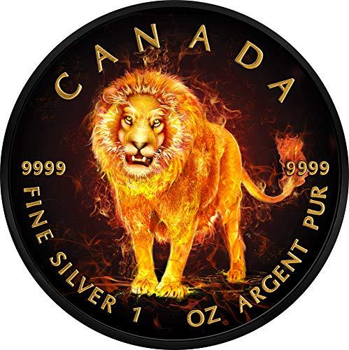 Power Coin Lion Löwe Burning Animals 1 Oz Silber Münze 5$ Canada 2018 -