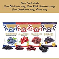 Wonderland Foods Dried Fruits Combo of Blueberry 150g + Sliced Cranberry 200g + Whole Cranberry 200g + Prunes 200g