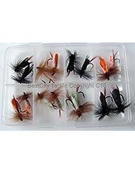 Lot # 306 de 16mouches flottantes ailées en mousse pour Pêche à la mouche Livré dans boîte à Leurres pour truite/brochet/carpe