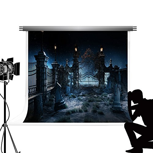 Kate Foto Backdrops für die Fotografie Black Night Hintergrund verschwenderischer Friedhof Fotograf Requisiten für Halloween Party Fotos 7x5ft / 2.2x1.5m
