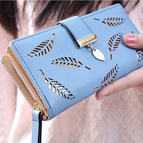 Donna Portafoglio con stile foglie incavate PU pelle Cartella con Fibbia Frizione Borsetta Blu Blu