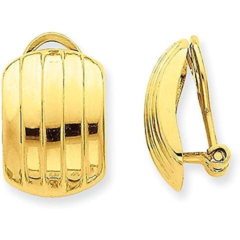 14K oro lucido orecchini a costine Omega Indietro Orecchini