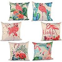 KAIMENG 6 Unidades Fundas de Almohada Funda de Almohada de Impresión de Flamingo Algodón de Lino