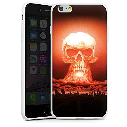 Apple iPhone X Silikon Hülle Case Schutzhülle Explosion Totenkopf Stadt Silikon Case weiß