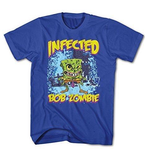 Herren T-Shirt Infected Zombie Bob Spong TV Serie Blau