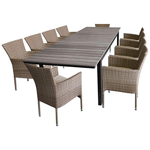 11tlg. Sitzgruppe Terrassenmöbel Gartenmöbel Set Gartengarnitur – Gartentisch, Polywood-Tischplatte grau, ausziehbar, 200/250/300x95cm + 10x Polyrattan Stapelsessel 'Nature'