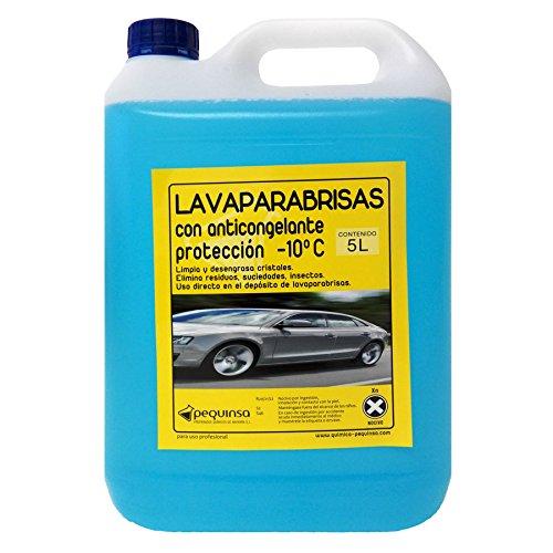PEQUINSA Liquido Limpiaparabrisas, antimosquitos con anticongelante. Envase 5 litros.
