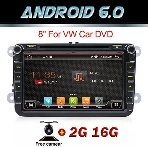 """GPS Wi-fi et lecteur DVD embarqué sous Android 6.0Quad Core 2DIN 8"""" avec support Miroir, OBD2, caisson de basses et Bluetooth pour Volkswagen Polo Passat B6CC Tiguan Golf 5et Skoda Fabia"""