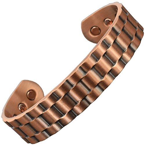 Herren Kupfer Armband Armreif bei Arthritis Magnetarmband für Gesundheit Schmerzlinderung Magnetfeldtherapie Arthritis Schmuck als Geschenk verpackt-Rolx (M: Handgelenk 16,5-19,5cm)