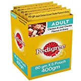 #2: Pedigree Gravy Adult Dog Food, Chicken and Liver Chunks, 80 g Pouch (Pack of 5)